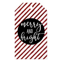 Red Watercolor Stripes Christmas Merry and Bright Gift Tags