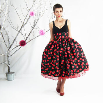 Midi Skirt - Rockabilly Skirt, 50's skirt, Cherry Skirt, Full Circle Skirt, Plus Size Skirt, High Waisted Skirt, Plus Size 50's Skirt
