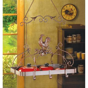 Rooster Overhead Pot & Pan Hanging Rack Iron Scroll-work Rust Red Finish Unique