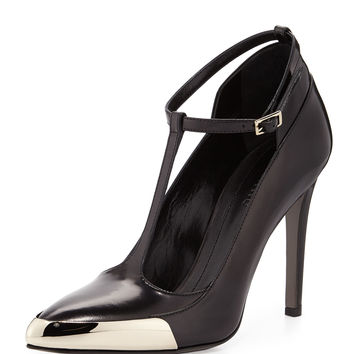 T-Strap Leather Pump, Black - Jason Wu