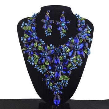 Royal Blue Statement Jewelry sets Women Rhinestone crystal Big Party Necklace earrings set Colorful Bridal Wedding Jewelry