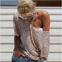 Sequin Off Shoulder Glitter T-shirt
