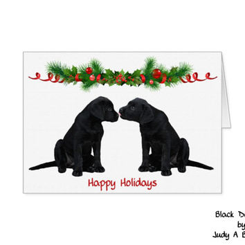 Black Lab Christmas Cards 10 - Labrador Christmas Cards - Christmas In July - Black Lab Art 7 - Black Dog Christmas Card -Black Lab Santa -