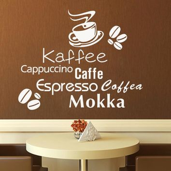 Delicious coffee cup vinyl quote removable wall Stickers DIY home decor Bakery cafe shop Kitchen wall art MURAL