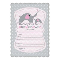 Pink and grey elephant baby shower 5x7 paper invitation card
