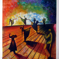 24 by 36 inches - Modern Figure - Nr.Dance002 - Dancing - Museum Quality Oil Painting on Canvas Art