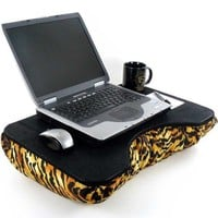 Large Faux Leather and Tiger Print Lap Desk