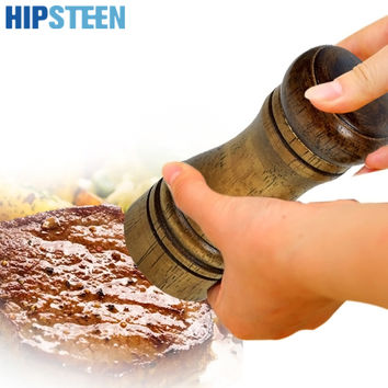 HIPSTEEN 10 Inch Wooden Manual Salt and Pepper Mill Grinder Salt Shaker Spices Shaker Vintage Grinding Kitchen Accessories Tools