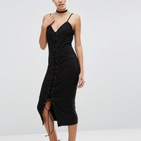 ASOS Corset Lattice Front Midi Dress at asos.com