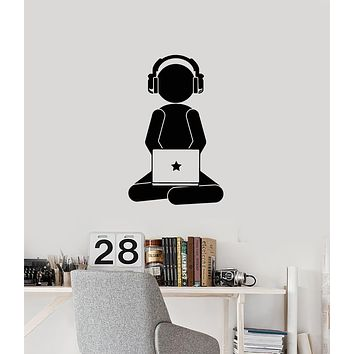 Vinyl Wall Decal Gamer with Laptop Headphones Video Games Gaming Stickers Mural (ig6094)