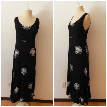 Womens Hippie Woodstock Boho Tie Dye Black White Peasant Stretch Maxi Dress Small Medium