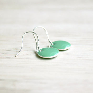 mint green enamel dangle earrings // tiny sterling silver earring - minimalist jewelry for women, girls