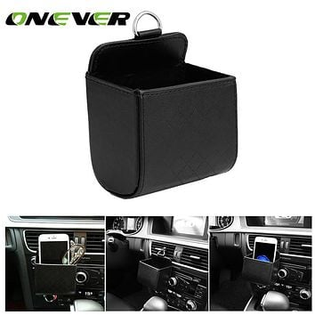 1Pcs Car Outlet Air Vent Trash Box Auto PU Leather Mobile Phone Holder Bag Pouch Organizer Hanging Box