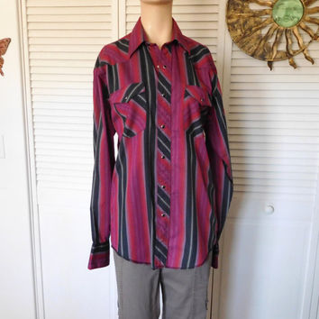 Mens Snap Western Shirt Size XL Vintage Stripe Shirt Red Black Purple Boyfriend Shirt Long Sleeve