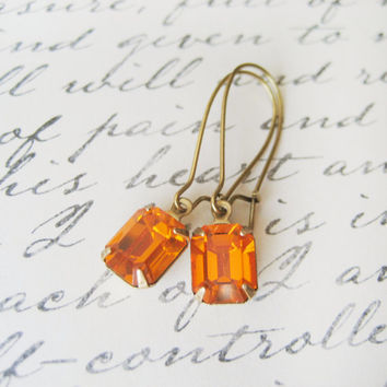 Citrine Rhinestone Earrings // Vintage Swarovski, Orange, Estate Style Jewelry, Drop Earrings, Wedding Accessories, Bridesmaids Jewellery