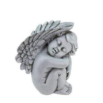 "7"" Heavenly Gardens Gray Right Facing Sleeping Cherub Angel Outdoor Patio Garden Statue"