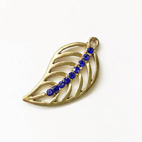 set of 4 leaf pendants, 22mm x 42mm, antique gold metal alloy with blue crystals - C123