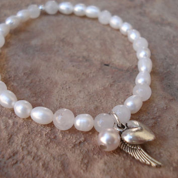 Freshwater Pearl Bracelet with Moonstone and Tibetan Silver Charms, For Her