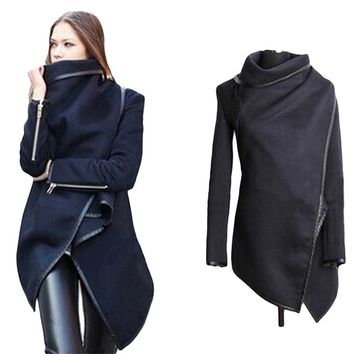 Women's Asymmetric Length Elegant Coats Long-sleeved Patchwork Design Fashion Coat Jacket Plus Size S-XXXL