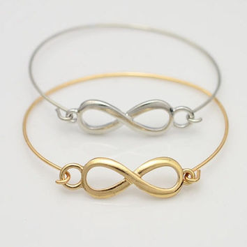 infinity bangle bracelet, charm bracelet, to the infinity and beyond, gold/silver bracelet, trending bridesmaid anniverssary friendship gift