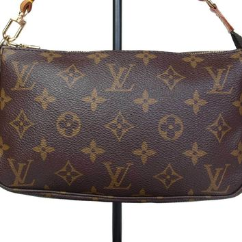 Authentic LOUIS VUITTON Monogram Canvas Pochette Accessoires Hand Bag LP1442