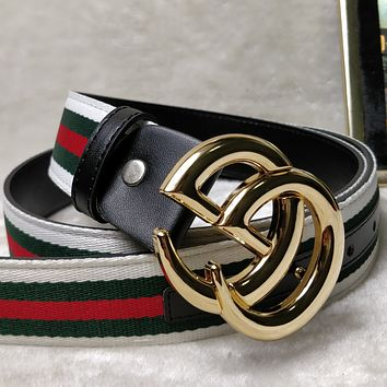 GUCCI street fashion men's and women's red, green and white striped canvas smooth buckle belt Gold