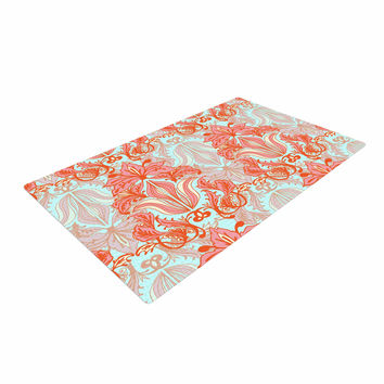 "Amy Reber ""Baroque"" Orange Pattern Woven Area Rug"