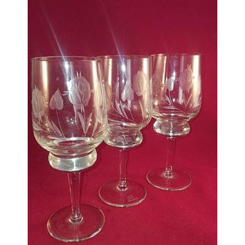 Etched Rose Wine Stemware