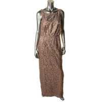 Laundry by Shelli Segal Womens Metallic Embroidered Evening Dress