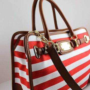 MICHAEL KORS Hamilton Large EW Stripe Tote in Mandarin/White