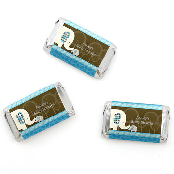 Blue Baby Elephant - Personalized Baby Shower Mini Candy Bar Wrapper Favors - 20 ct