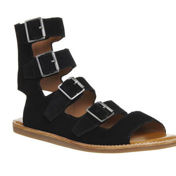 KDB Maldives Gladiator Sandals Black Suede - Sandals