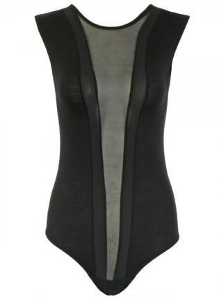 Black Sleeveless Front Mesh Panel Bodysuit