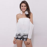 White Strapless Blouse with Lace Fringed Bottom
