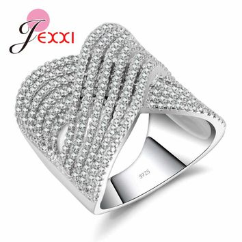 JEXXI Genuine Real 925 Sterling Silver Ring with Luxury Full Cubic Zircon Cross Wedding Engagement Anniversary Gift for Women