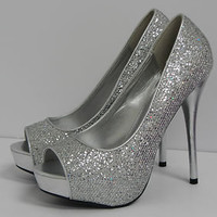 Delicious Mealy-S Silver Glitter Peep Toe Platform Pump Womens Shoes High Heel