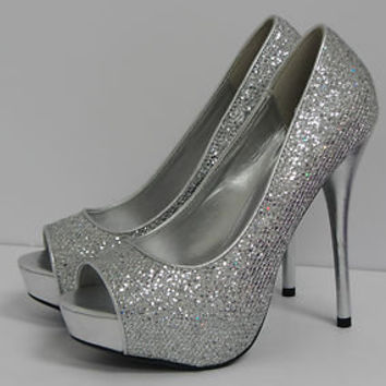 Delicious Mealy-S Silver Glitter Peep Toe from shoemaven26 on 6ae35674bb