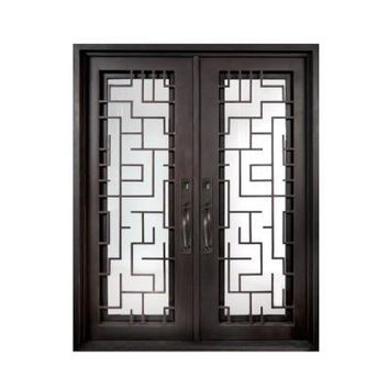 Iron Doors Unlimited Bel Sol Full Lite Light Bronze Decorative Wrought Iron Entry Door-IB6498RSLC at The Home Depot