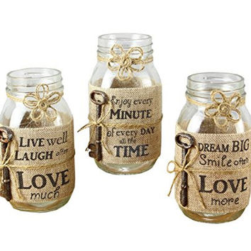 """Young's Mason Jar Candle with Burlap Wrap 3 Assorted Set, 7"""""""