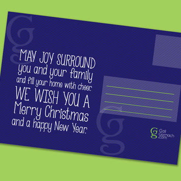 5 Christmas Postcards, Christmas Card, New Year Greeting Card, Joy to the World, w/ Original Poem - Cheaper stamps - Graphic Design