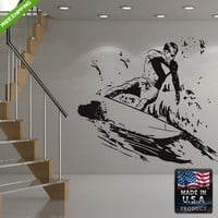 Wall Decal Mural Sticker Beautyfull Cute Surfer Sea Surf Board Ocean Kids Bedroom (z173)