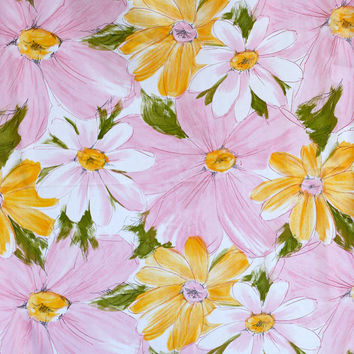 Cute Mod Daisies Vintage Fabric Sheet - Cannon Royal Family - 60s Flower Power - King Flat - 108 x 115