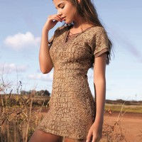 Luli Fama Secrets in the Sand - Gold Mini Dress
