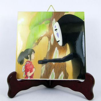 Spirited Away No Face Ceramic Tile - Handmade from Italy - High Quality Studio Ghibli Hayao Miyazaki Anime Manga Japan Mod.2