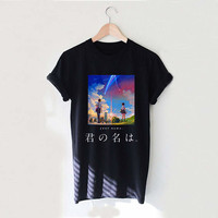 Your Name Japanese Letter Kanji Kimi no na wa Romance Style White Black Gray Reaclothstore