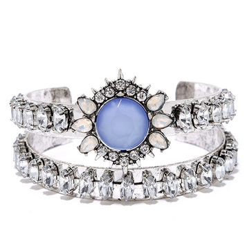 Temple of the Sun Silver and Blue Rhinestone Bracelet Set