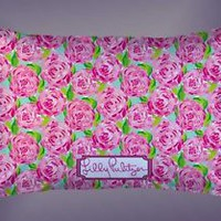"""Pink Roses Lilly Pulitzer Custom Pillow Case 16""""x24"""" Limited Edition"""