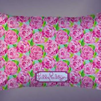 "Pink Roses Lilly Pulitzer Custom Pillow Case 16""x24"" Limited Edition"