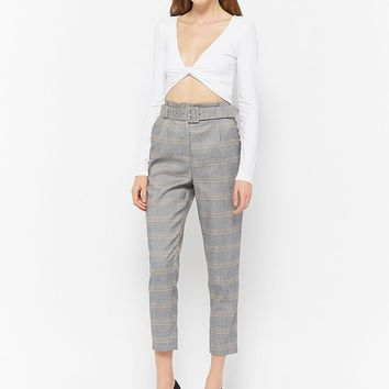High-Waist Plaid Pants