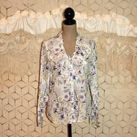 Light Cotton Blouse Purple + White Floral Print Ruffled Long Sleeve Button Up Romantic Boho GAP Size 10 Size 12 Medium Large Womens Clothing